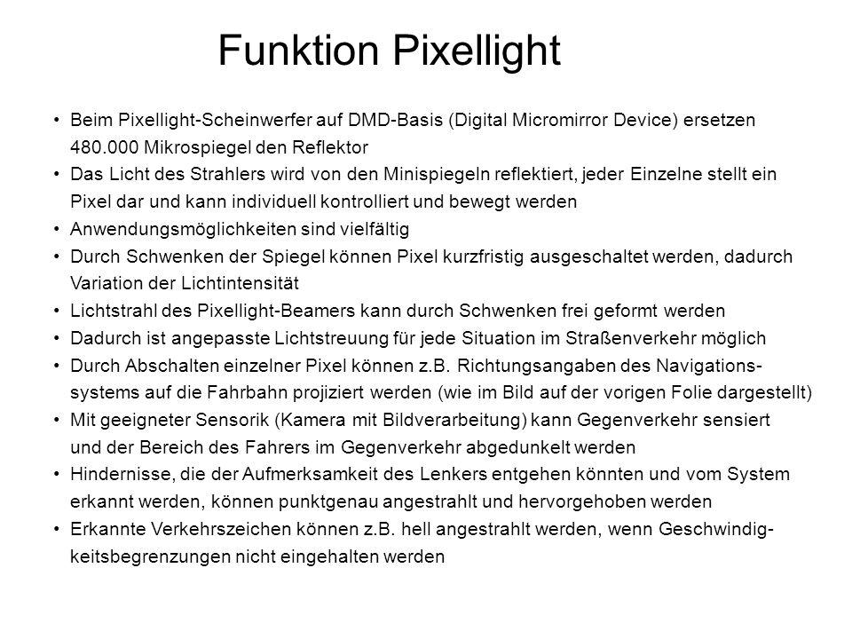 Funktion Pixellight Beim Pixellight-Scheinwerfer auf DMD-Basis (Digital Micromirror Device) ersetzen 480.000 Mikrospiegel den Reflektor Das Licht des