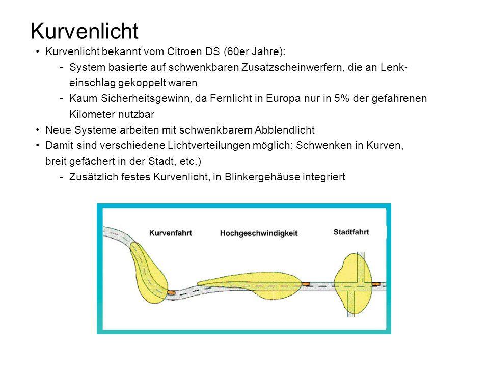 Kurvenlicht Kurvenlicht bekannt vom Citroen DS (60er Jahre): -System basierte auf schwenkbaren Zusatzscheinwerfern, die an Lenk- einschlag gekoppelt w