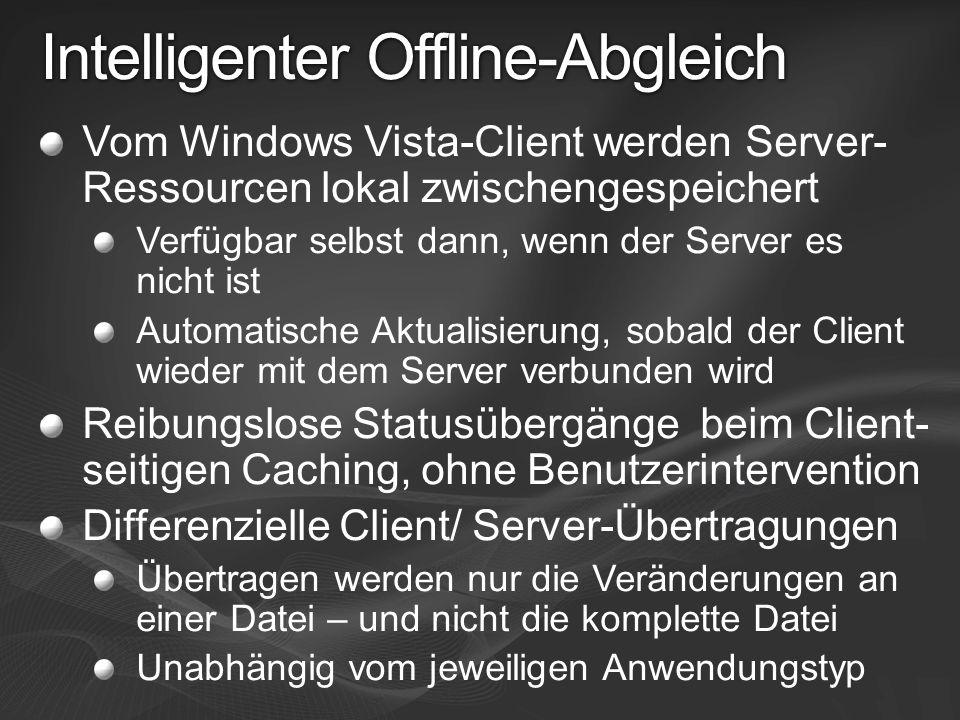 Intelligenter Offline-Abgleich Vom Windows Vista-Client werden Server- Ressourcen lokal zwischengespeichert Verfügbar selbst dann, wenn der Server es
