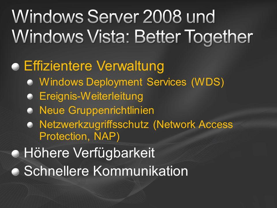 Windows Vista-Clients können mit höherer Performance und Zuverlässigkeit in einem Netzwerk kommunizieren, in dem Windows Server 2008 zum Einsatz kommt Viele Verbesserungen bei der Steuerung und Verwaltung einer IT-Infrastruktur mit Windows Server 2008 & Windows Vista (Business, Enterprise und Ultimate) Erhebliche Steigerung der Zuverlässigkeit, Skalierbarkeit sowie des Antwortverhaltens der Client- und Server-Infrastruktur Zusammenfassung von Better Together
