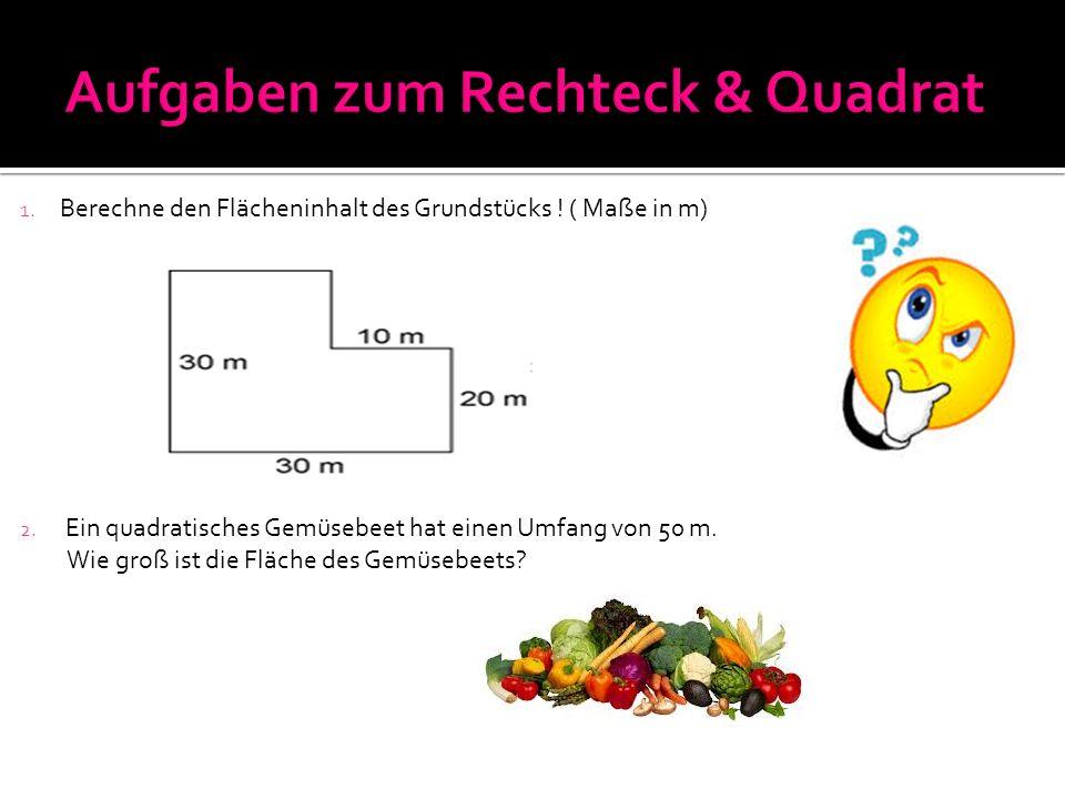 1. Berechne den Flächeninhalt des Grundstücks ! ( Maße in m) 2. Ein quadratisches Gemüsebeet hat einen Umfang von 50 m. Wie groß ist die Fläche des Ge