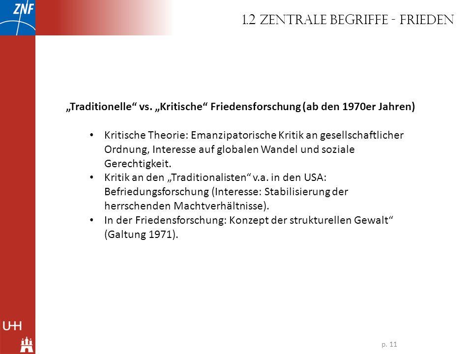 Traditionelle vs. Kritische Friedensforschung (ab den 1970er Jahren) Kritische Theorie: Emanzipatorische Kritik an gesellschaftlicher Ordnung, Interes