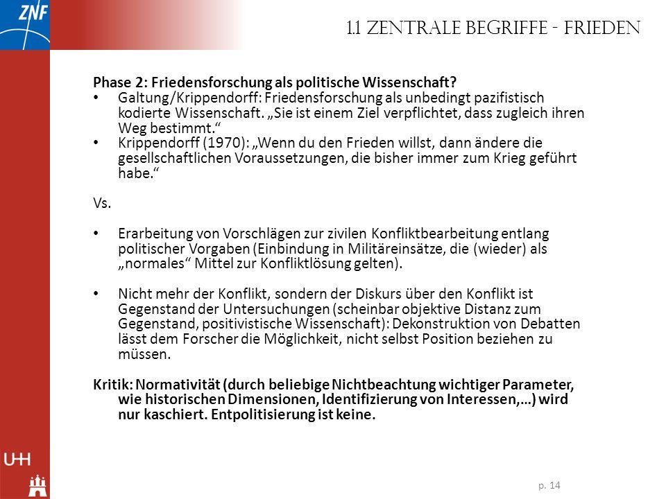 Phase 2: Friedensforschung als politische Wissenschaft? Galtung/Krippendorff: Friedensforschung als unbedingt pazifistisch kodierte Wissenschaft. Sie