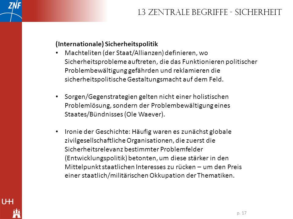 (Internationale) Sicherheitspolitik Machteliten (der Staat/Allianzen) definieren, wo Sicherheitsprobleme auftreten, die das Funktionieren politischer