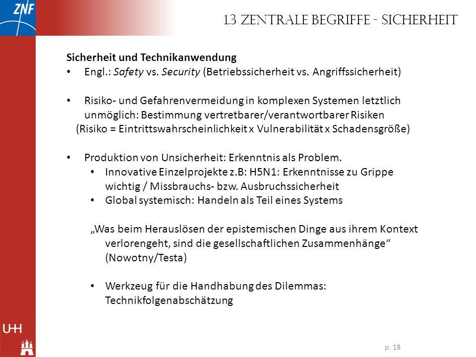 Sicherheit und Technikanwendung Engl.: Safety vs. Security (Betriebssicherheit vs. Angriffssicherheit) Risiko- und Gefahrenvermeidung in komplexen Sys