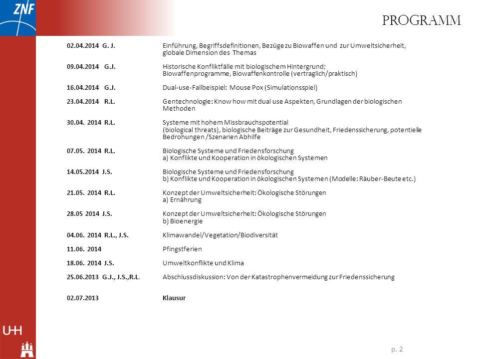 02.04.2014 G. J. Einführung, Begriffsdefinitionen, Bezüge zu Biowaffen und zur Umweltsicherheit, globale Dimension des Themas 09.04.2014 G.J.Historisc