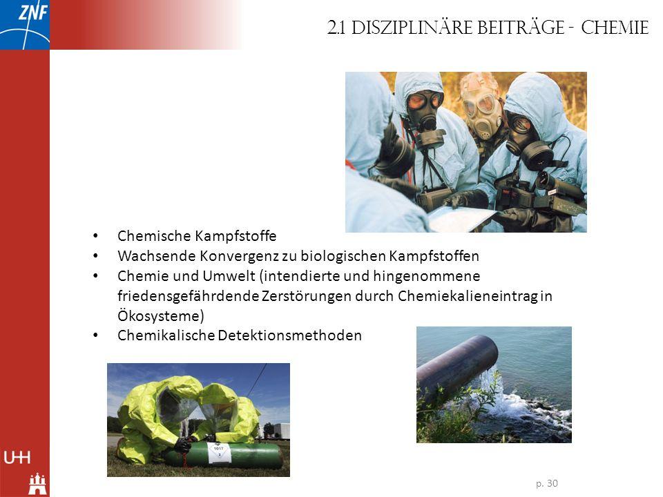 Chemische Kampfstoffe Wachsende Konvergenz zu biologischen Kampfstoffen Chemie und Umwelt (intendierte und hingenommene friedensgefährdende Zerstörung
