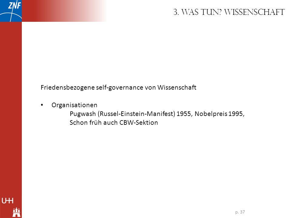 Friedensbezogene self-governance von Wissenschaft Organisationen Pugwash (Russel-Einstein-Manifest) 1955, Nobelpreis 1995, Schon früh auch CBW-Sektion