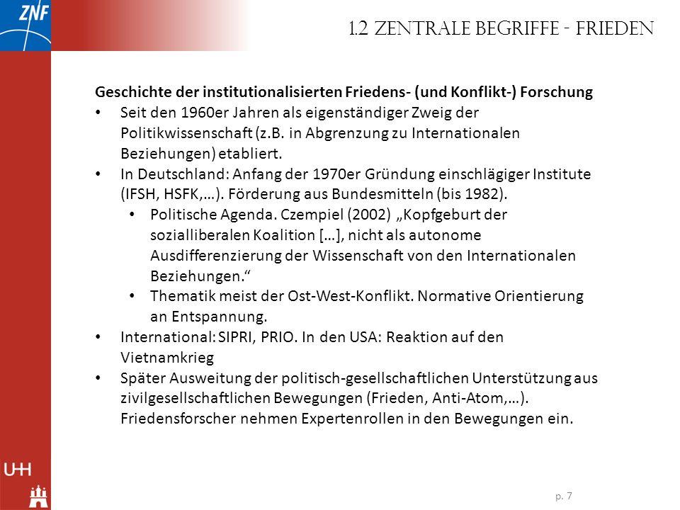 Geschichte der institutionalisierten Friedens- (und Konflikt-) Forschung Seit den 1960er Jahren als eigenständiger Zweig der Politikwissenschaft (z.B.