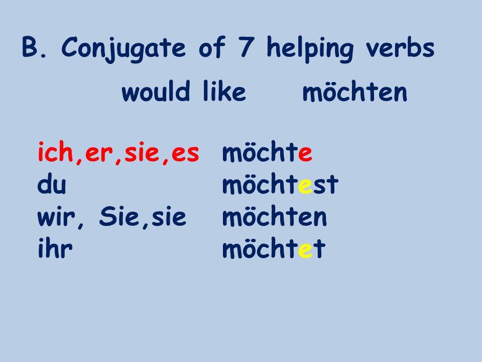 B. Conjugate of 7 helping verbs ich,er,sie,es du wir, Sie,sie ihr möchte möchtest möchten möchtet would likemöchten