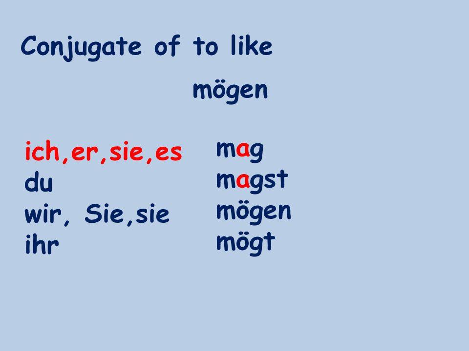 Conjugate of to like ich,er,sie,es du wir, Sie,sie ihr magmag magst mögen mögt mögen