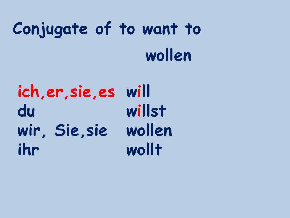Conjugate of to want to ich,er,sie,es du wir, Sie,sie ihr will willst wollen wollt wollen