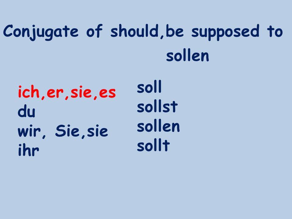Conjugate of should,be supposed to ich,er,sie,es du wir, Sie,sie ihr soll sollst sollen sollt sollen