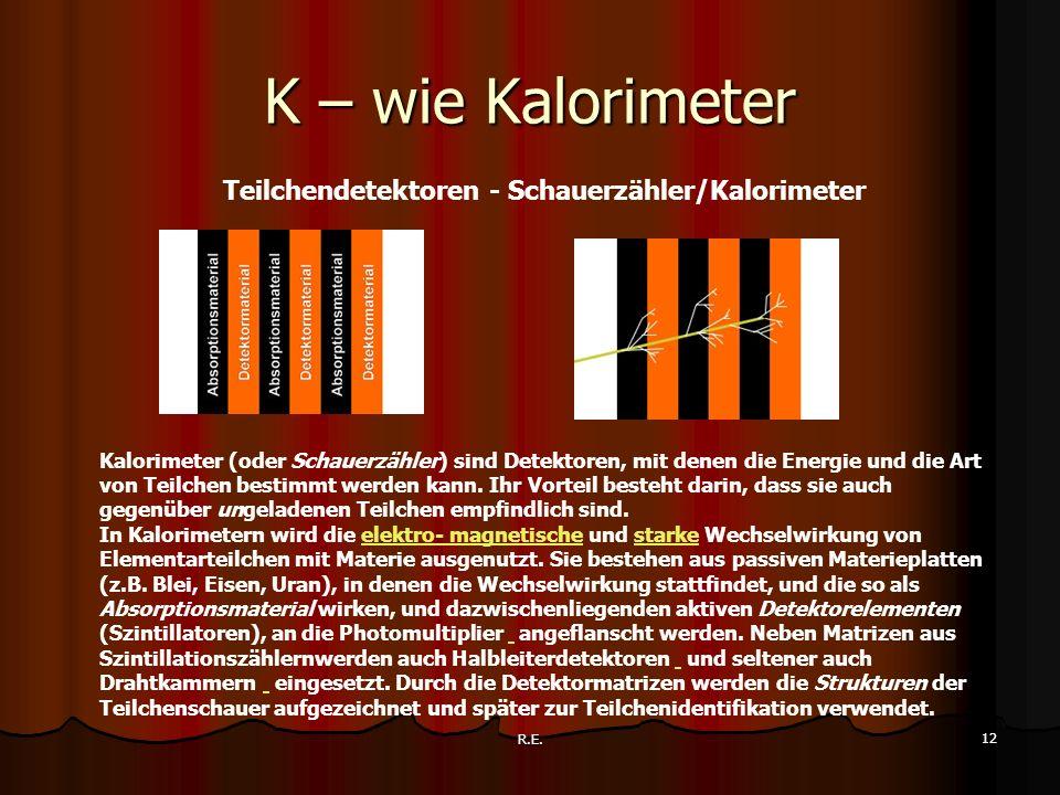 R.E. 12 K – wie Kalorimeter Teilchendetektoren - Schauerzähler/Kalorimeter Kalorimeter (oder Schauerzähler) sind Detektoren, mit denen die Energie und