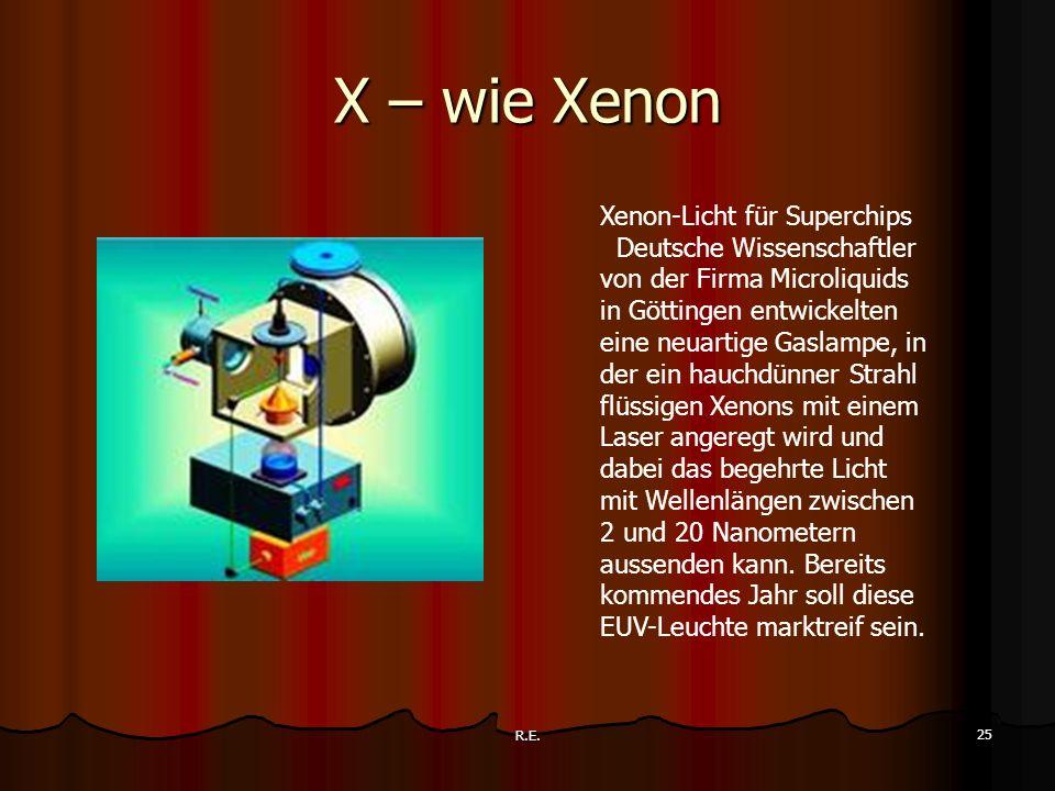 R.E. 25 X – wie Xenon Xenon-Licht für Superchips Deutsche Wissenschaftler von der Firma Microliquids in Göttingen entwickelten eine neuartige Gaslampe