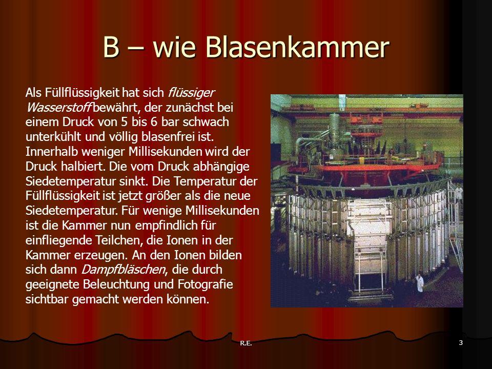 R.E. 3 B – wie Blasenkammer Als Füllflüssigkeit hat sich flüssiger Wasserstoff bewährt, der zunächst bei einem Druck von 5 bis 6 bar schwach unterkühl