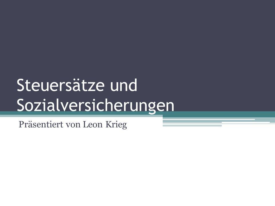 Steuersätze und Sozialversicherungen Präsentiert von Leon Krieg