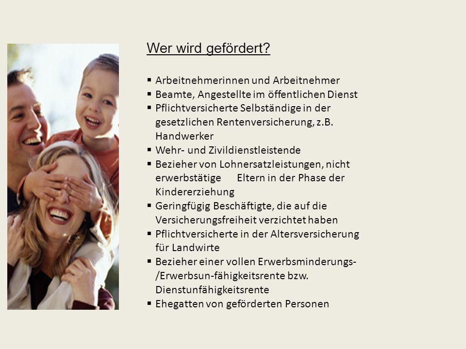 Hohe Förderung – Beispiel Familienförderung: Ehemann begünstigt und berufstätig Ehefrau nicht berufstätig Zwei Kinder (beide vor 2008 geboren) Bruttoeinkommen des Vorjahres 40.000 EURO Opt.