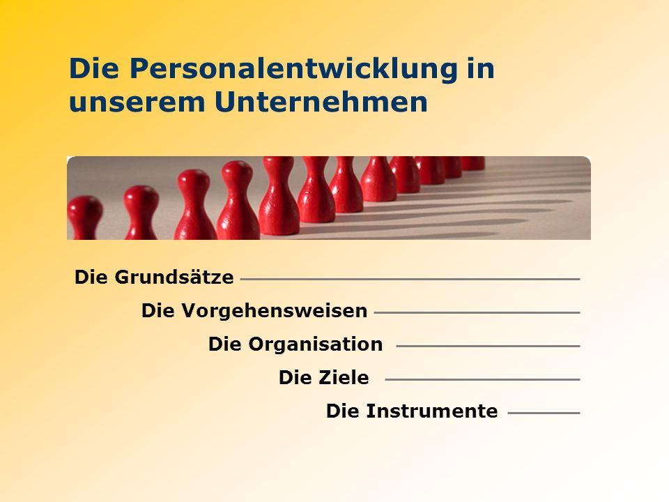 Die Personalentwicklung in unserem Unternehmen Die Grundsätze Die Vorgehensweisen Die Organisation Die Ziele Die Instrumente