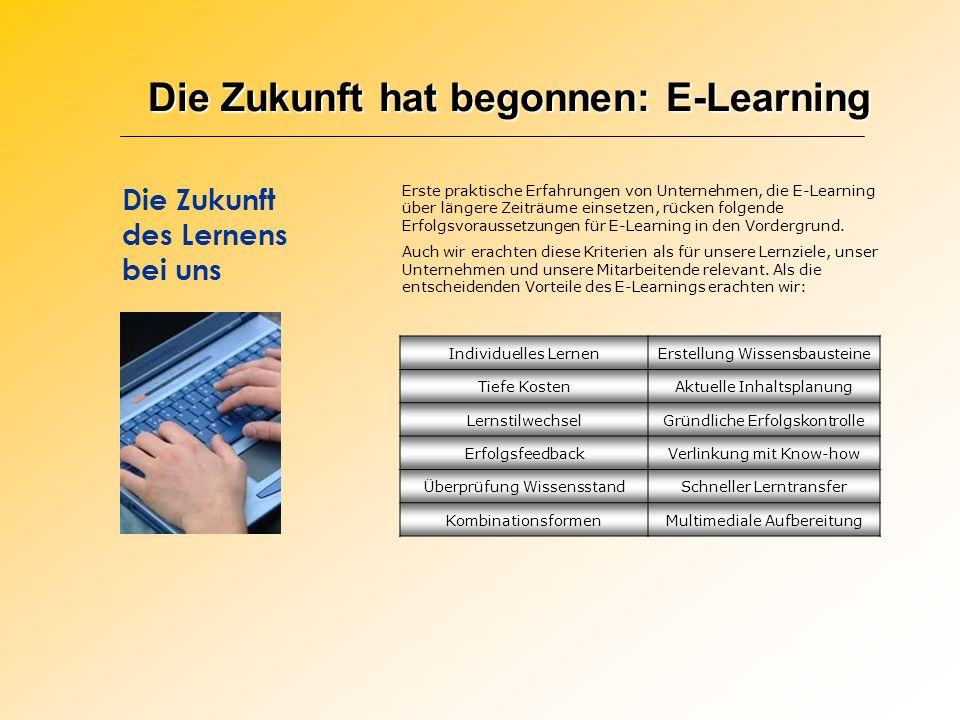 Die Zukunft hat begonnen: E-Learning Die Zukunft des Lernens bei uns Erste praktische Erfahrungen von Unternehmen, die E-Learning über längere Zeiträu