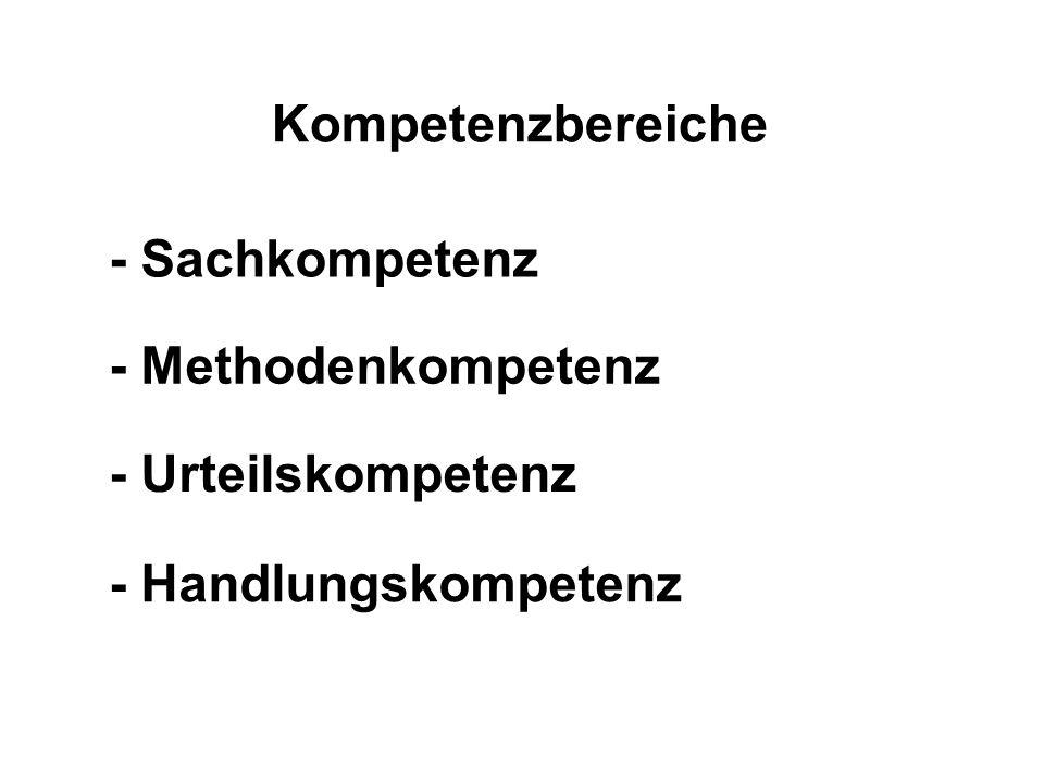 Kompetenzbereiche - Sachkompetenz - Handlungskompetenz - Urteilskompetenz - Methodenkompetenz