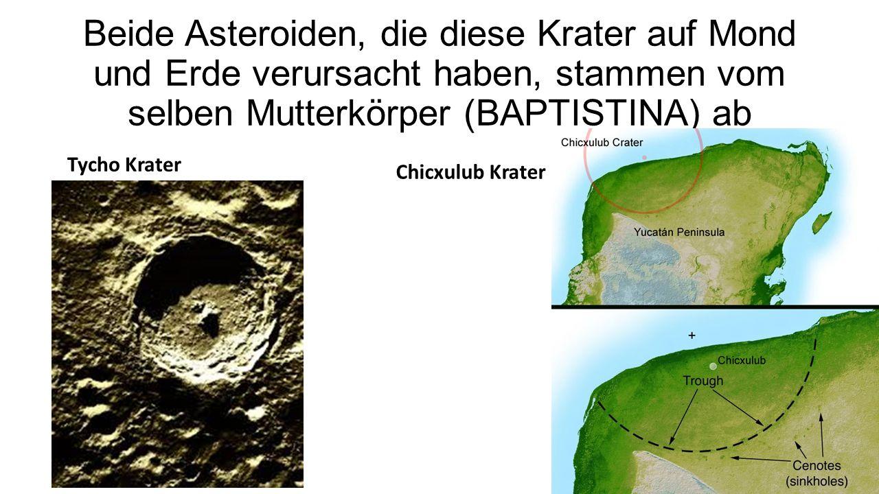 Beide Asteroiden, die diese Krater auf Mond und Erde verursacht haben, stammen vom selben Mutterkörper (BAPTISTINA) ab Tycho Krater Chicxulub Krater