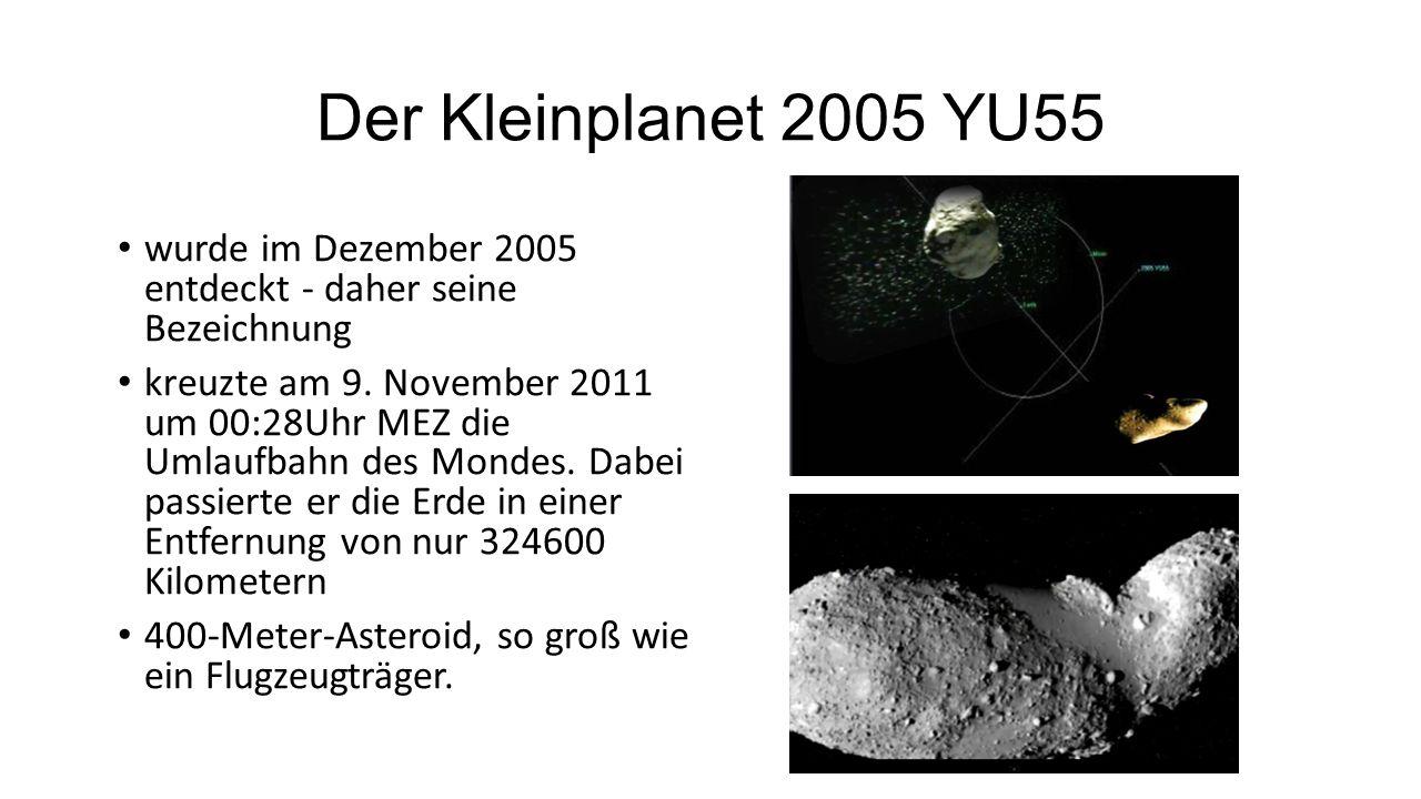 Der Kleinplanet 2005 YU55 wurde im Dezember 2005 entdeckt - daher seine Bezeichnung kreuzte am 9.