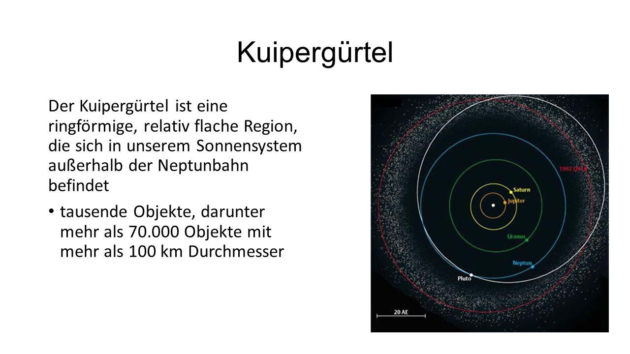 Kuipergürtel Der Kuipergürtel ist eine ringförmige, relativ flache Region, die sich in unserem Sonnensystem außerhalb der Neptunbahn befindet tausende
