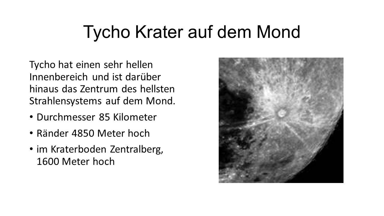 Tycho Krater auf dem Mond Tycho hat einen sehr hellen Innenbereich und ist darüber hinaus das Zentrum des hellsten Strahlensystems auf dem Mond.