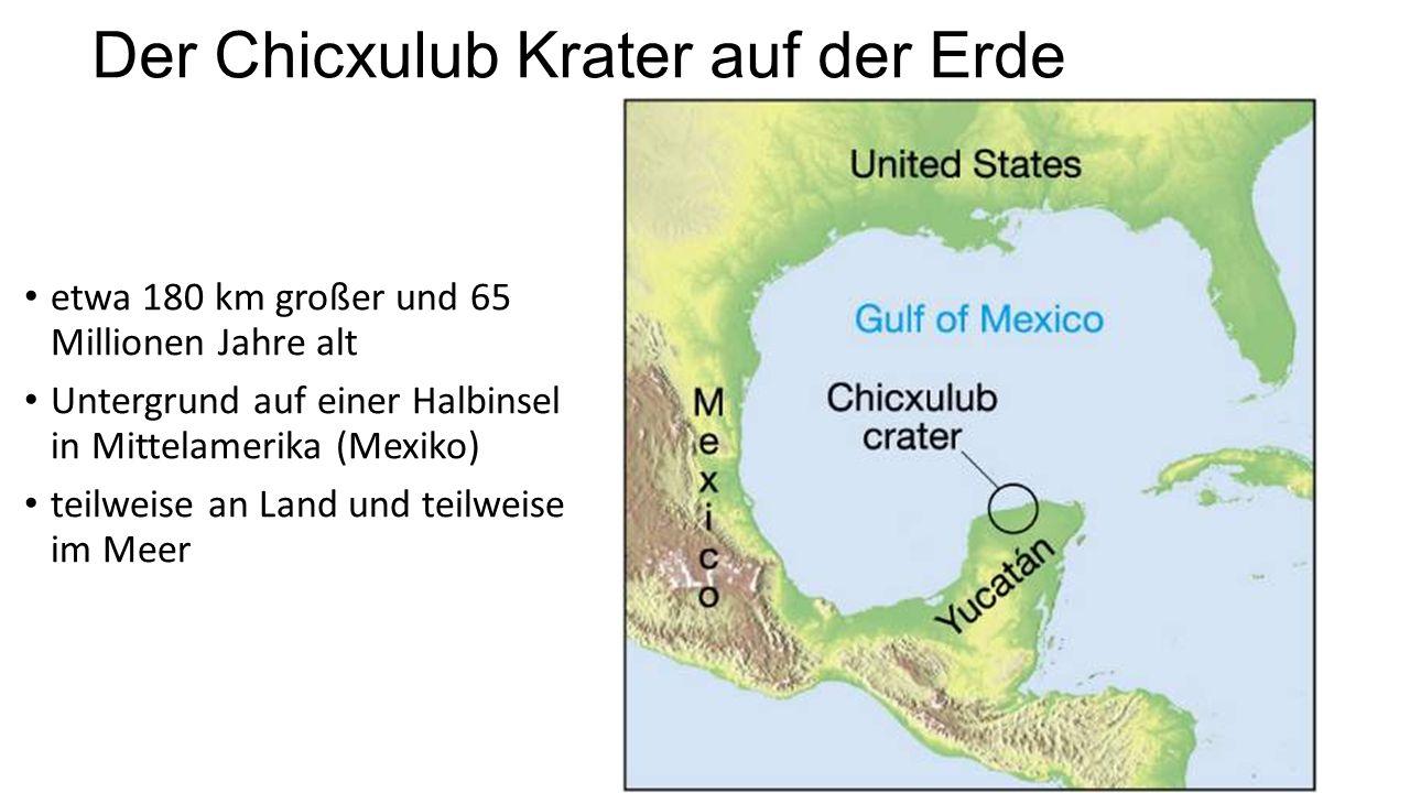 Der Chicxulub Krater auf der Erde etwa 180 km großer und 65 Millionen Jahre alt Untergrund auf einer Halbinsel in Mittelamerika (Mexiko) teilweise an Land und teilweise im Meer