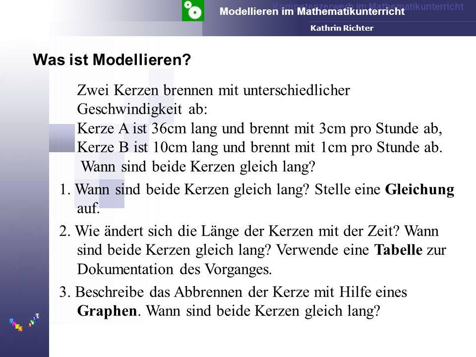 Kompetenzerwerb im Mathematikunterricht Modellieren im Mathematikunterricht FH-Dortmund Kathrin Richter Klett