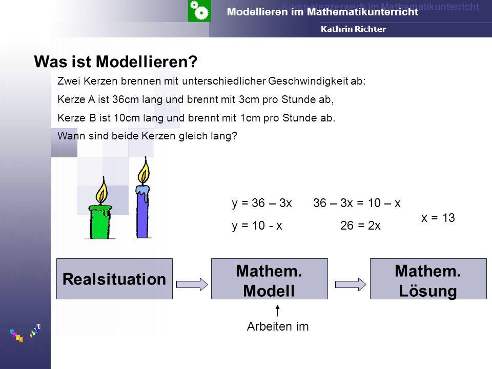 Kompetenzerwerb im Mathematikunterricht Modellieren im Mathematikunterricht FH-Dortmund Kathrin Richter y = 36 – 3x y = 10 - x Realsituation Mathem.