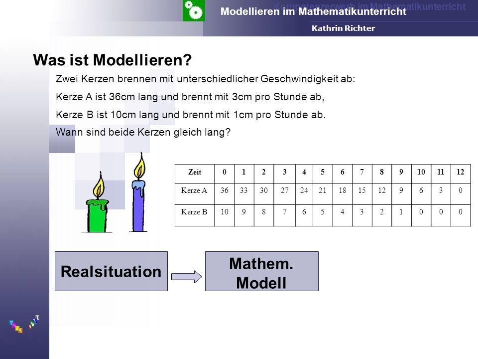 Kompetenzerwerb im Mathematikunterricht Modellieren im Mathematikunterricht FH-Dortmund Kathrin Richter Zwei Kerzen brennen mit unterschiedlicher Geschwindigkeit ab: Kerze A ist 36cm lang und brennt mit 3cm pro Stunde ab, Kerze B ist 10cm lang und brennt mit 1cm pro Stunde ab.