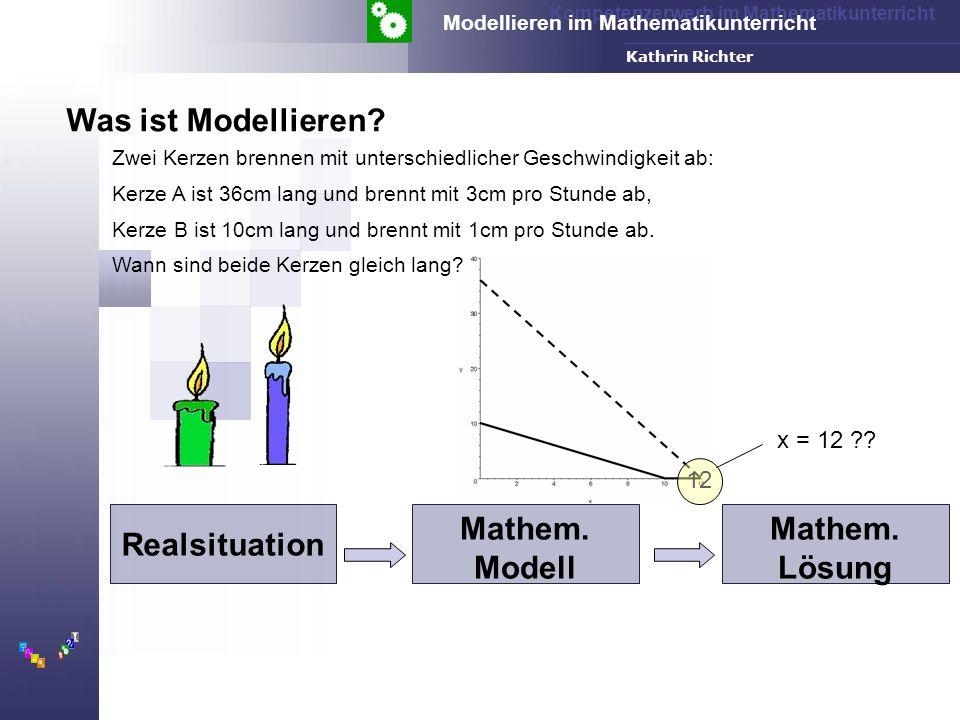 Kompetenzerwerb im Mathematikunterricht Modellieren im Mathematikunterricht FH-Dortmund Kathrin Richter Realsituation Mathem.