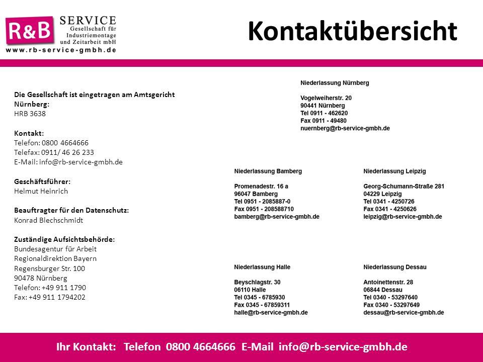 Kontaktübersicht Ihr Kontakt: Telefon 0800 4664666 E-Mail info@rb-service-gmbh.de Die Gesellschaft ist eingetragen am Amtsgericht Nürnberg: HRB 3638 K