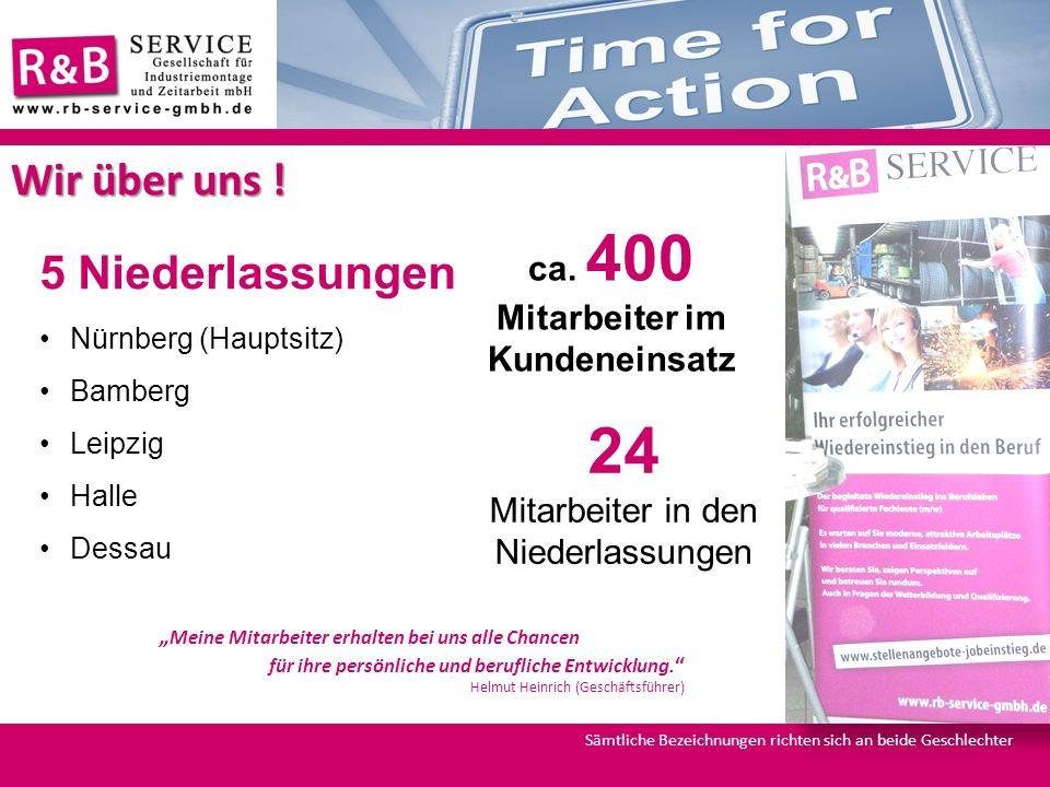 5 Niederlassungen Nürnberg (Hauptsitz) Bamberg Leipzig Halle Dessau ca. 400 Mitarbeiter im Kundeneinsatz 24 Mitarbeiter in den Niederlassungen Wir übe