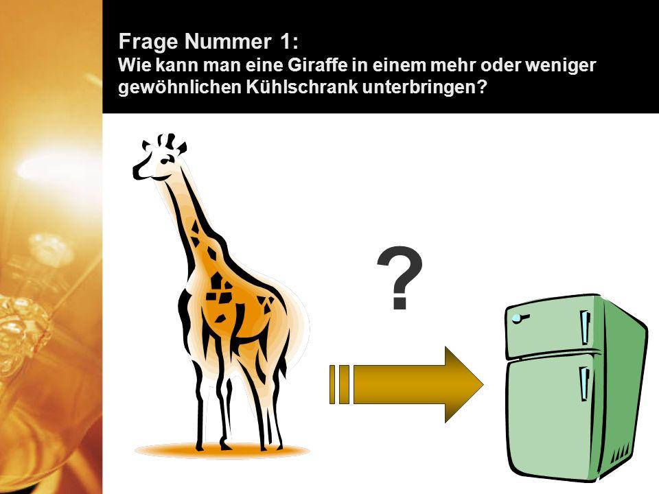 Die richtige Antwort lautet: Öffnen Sie den Kühlschrank, setzen Sie die Giraffe hinein und schliessen Sie die Tür.