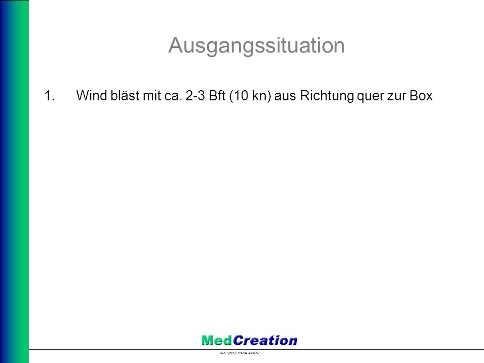 Copyright Ing. Thomas Brückner Ausgangssituation 1.Wind bläst mit ca. 2-3 Bft (10 kn) aus Richtung quer zur Box