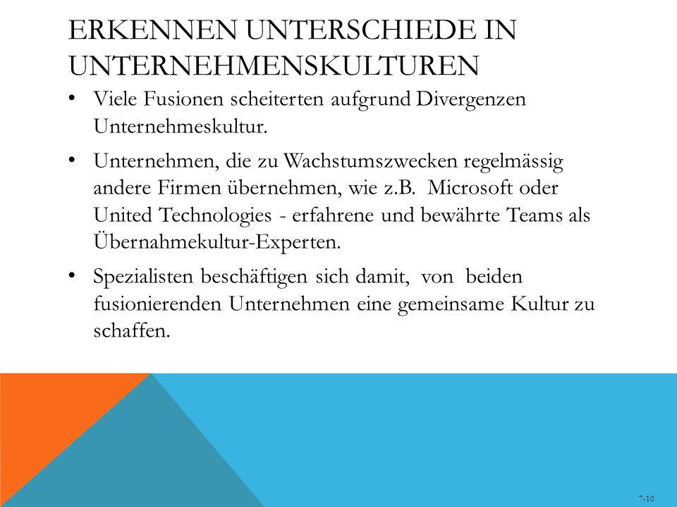 ERKENNEN UNTERSCHIEDE IN UNTERNEHMENSKULTUREN Viele Fusionen scheiterten aufgrund Divergenzen Unternehmeskultur. Unternehmen, die zu Wachstumszwecken