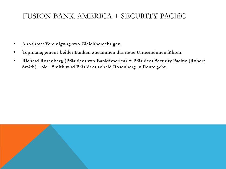 FUSION BANK AMERICA + SECURITY PACIC Annahme: Vereinigung von Gleichberechtigen. Topmanagement beider Banken zusammen das neue Unternehmen führen. Ric