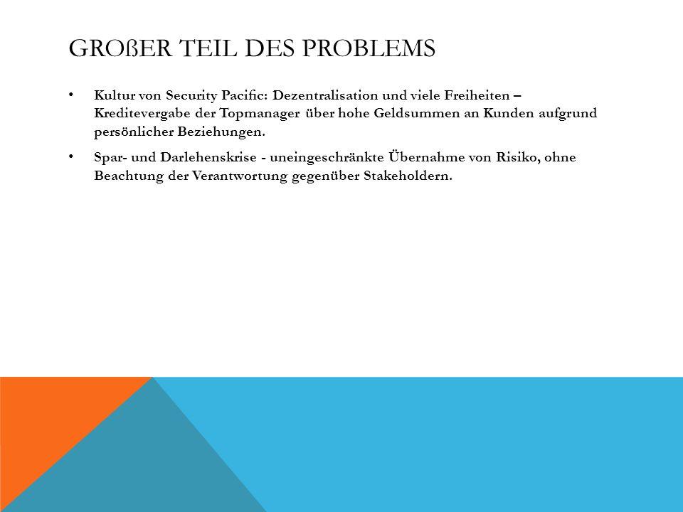 GROßER TEIL DES PROBLEMS Kultur von Security Pacic: Dezentralisation und viele Freiheiten – Kreditevergabe der Topmanager über hohe Geldsummen an Kund