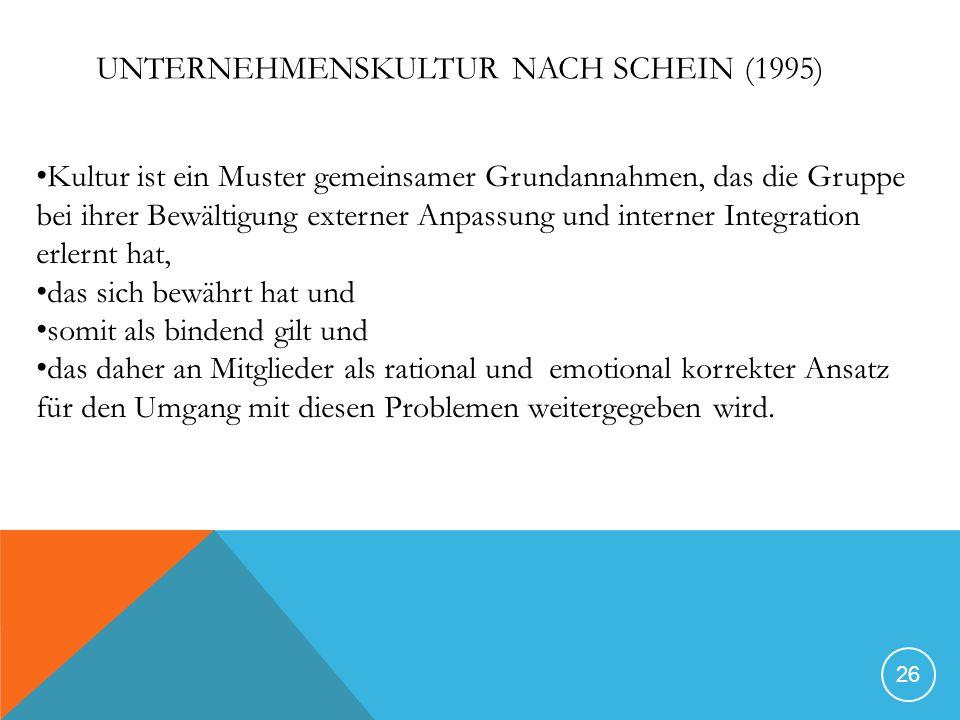UNTERNEHMENSKULTUR NACH SCHEIN (1995) 26 Kultur ist ein Muster gemeinsamer Grundannahmen, das die Gruppe bei ihrer Bewältigung externer Anpassung und