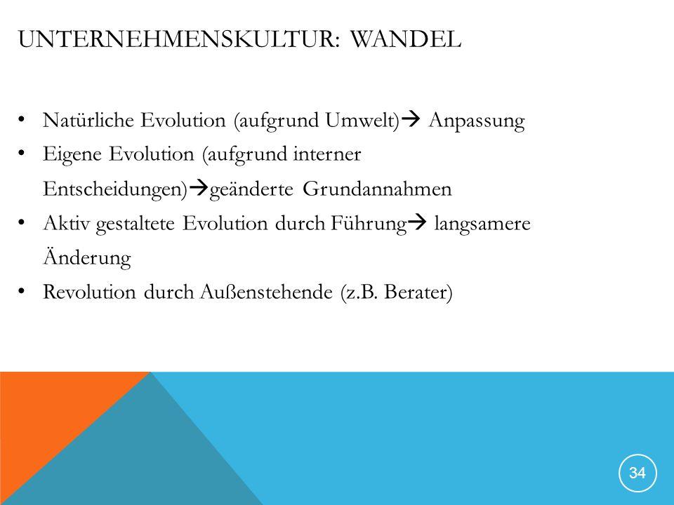 UNTERNEHMENSKULTUR: WANDEL Natürliche Evolution (aufgrund Umwelt) Anpassung Eigene Evolution (aufgrund interner Entscheidungen) geänderte Grundannahme