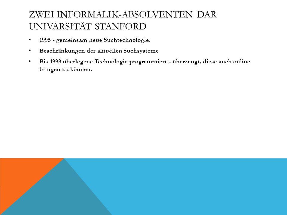 ZWEI INFORMALIK-ABSOLVENTEN DAR UNIVARSITÄT STANFORD 1995 - gemeinsam neue Suchtechnologie. Beschränkungen der aktuellen Suchsysteme Bis 1998 überlege