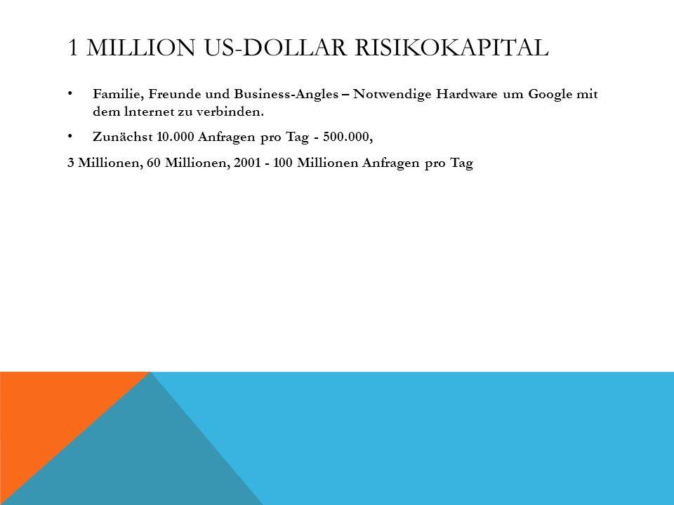 1 MILLION US-DOLLAR RISIKOKAPITAL Familie, Freunde und Business-Angles – Notwendige Hardware um Google mit dem lnternet zu verbinden. Zunächst 10.000
