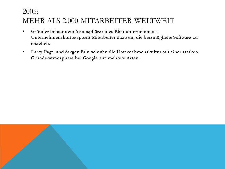 2005: MEHR ALS 2.000 MITARBEITER WELTWEIT Gründer behaupten: Atmosphäre eines Kleinunternehmens - Unternehmenskultur spornt Mitarbeiter dazu an, die b