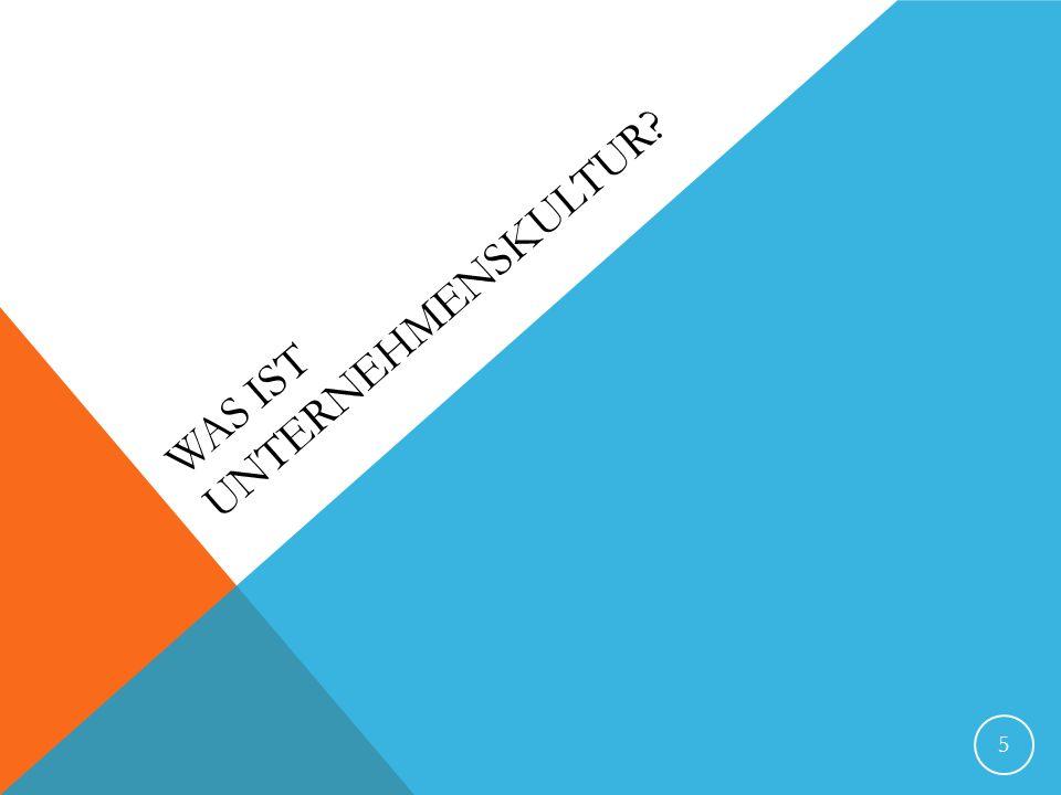 UNTERNEHMENSKULTUR NACH SCHEIN (1995) 26 Kultur ist ein Muster gemeinsamer Grundannahmen, das die Gruppe bei ihrer Bewältigung externer Anpassung und interner Integration erlernt hat, das sich bewährt hat und somit als bindend gilt und das daher an Mitglieder als rational und emotional korrekter Ansatz für den Umgang mit diesen Problemen weitergegeben wird.