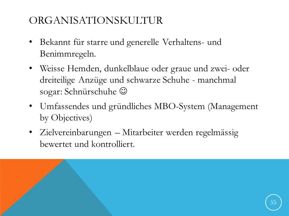 ORGANISATIONSKULTUR Bekannt für starre und generelle Verhaltens- und Benimmregeln. Weisse Hemden, dunkelblaue oder graue und zwei- oder dreiteilige An