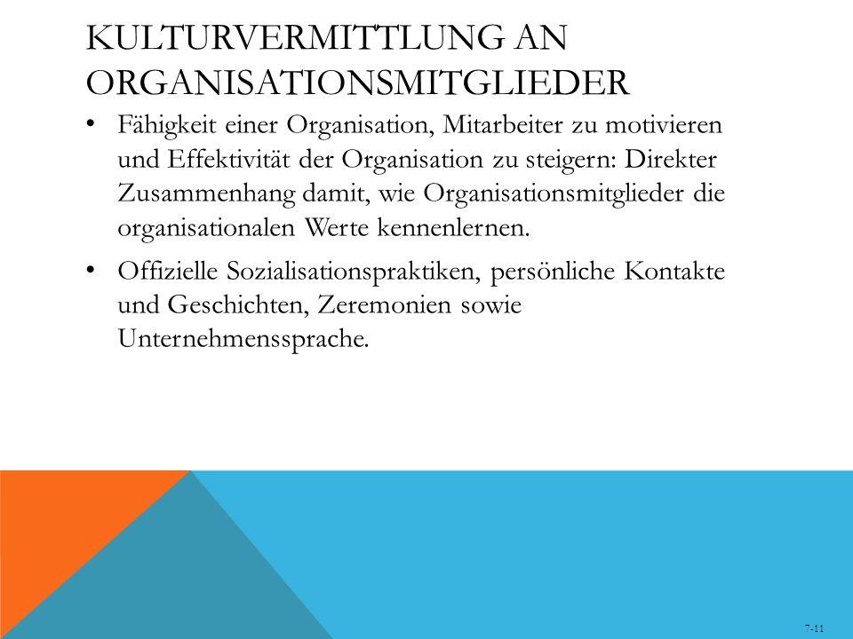 KULTURVERMITTLUNG AN ORGANISATIONSMITGLIEDER Fähigkeit einer Organisation, Mitarbeiter zu motivieren und Effektivität der Organisation zu steigern: Di