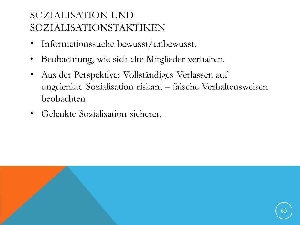 SOZIALISATION UND SOZIALISATIONSTAKTIKEN Informationssuche bewusst/unbewusst. Beobachtung, wie sich alte Mitglieder verhalten. Aus der Perspektive: Vo